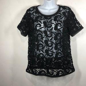 Loft black lace blouse size medium